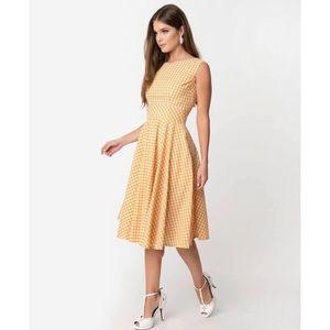 Unique Vintage Retro Yellow Gingham Dress